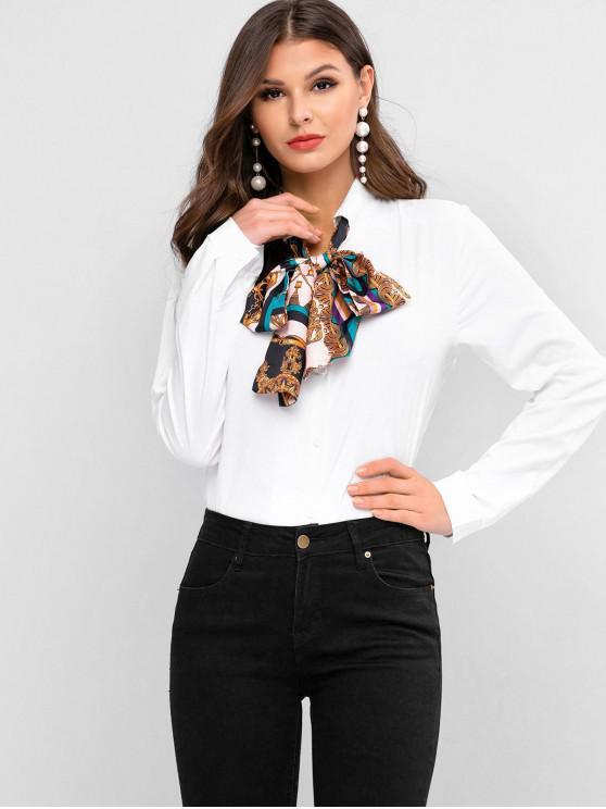 trendy Scarf Print Bow Tie Button Front Shirt - WHITE XL