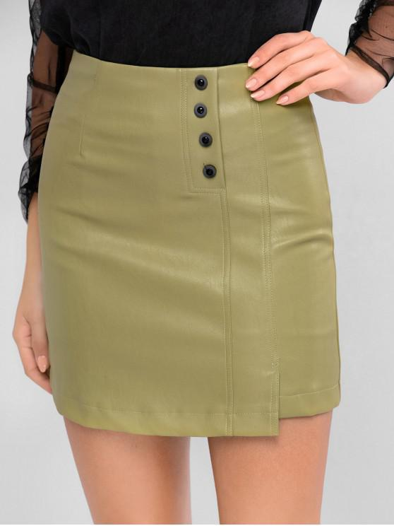 womens Faux Leather Button Embellished Asymmetrical Skirt - KHAKI L