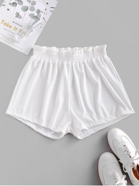 ladies ZAFUL Frilled Ribbed Boyshort Bikini Bottom - WHITE M