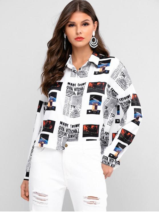 unique ZAFUL High Low Drop Shoulder Newspaper Shirt - MULTI L