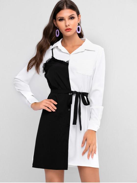 women ZAFUL Lace Panel Pocket Belted Two Tone Shirt Dress - MULTI S