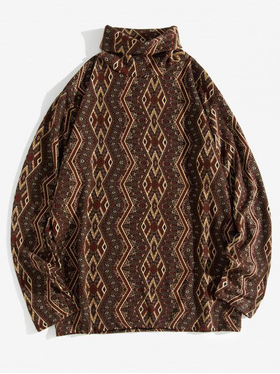 women's Geometric Pattern Full Sleeves Casual T-shirt - MULTI-A L