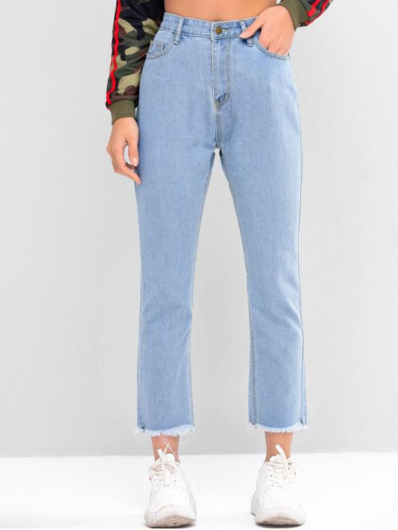 affordable Star Graphic Frayed Hem Straight Jeans - DENIM BLUE L