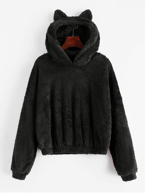 new Solid Color Fluffy Loose Hoodie - BLACK L