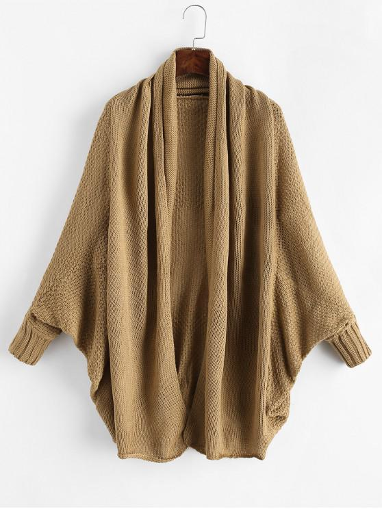 women Open Front Batwing Sleeve Shawl Collar Cardigan - WOOD ONE SIZE