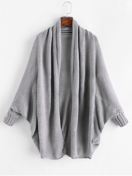 women's Open Front Batwing Sleeve Shawl Collar Cardigan - GRAY ONE SIZE