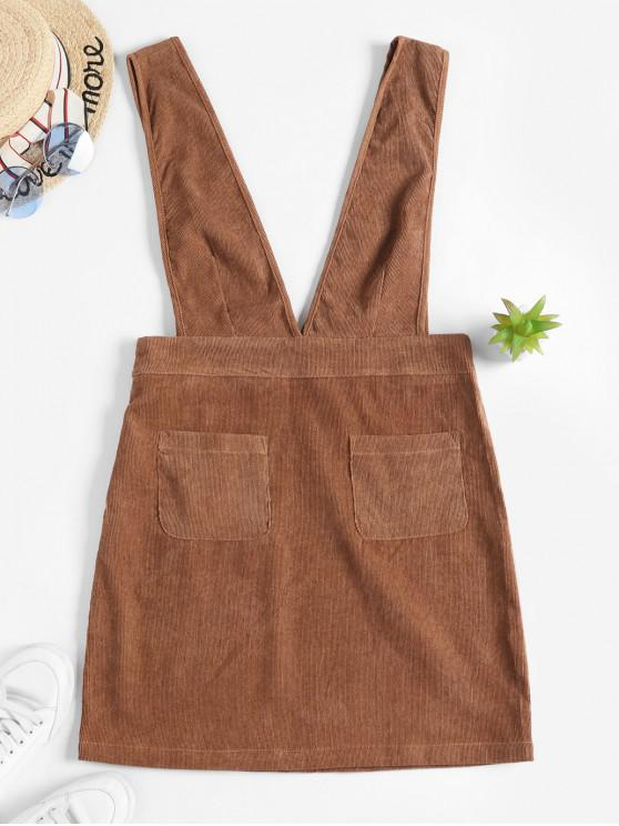 lady Plunge Front Solid Corduroy Pinafore Dress - BROWN L