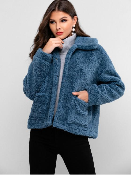 lady ZAFUL Snap Button Dual Pockets Faux Fur Coat - BLUE GRAY L