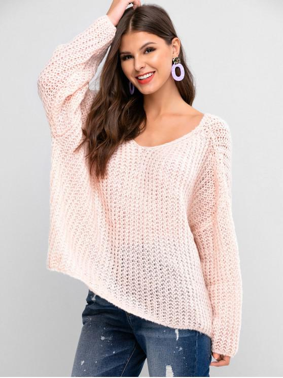 buy ZAFUL V Neck Solid Loose Knit Sweater - SAKURA PINK S