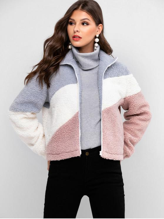 affordable ZAFUL Pockets Colorblock Zip Front Teddy Jacket - PINK ROSE S