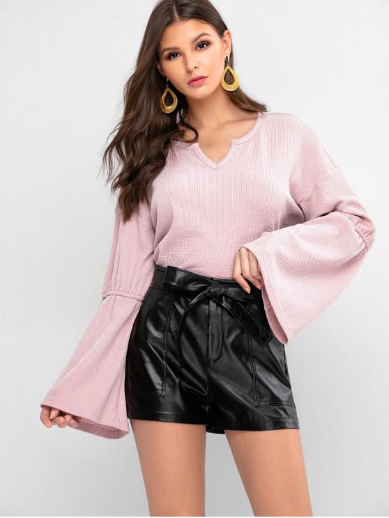 affordable ZAFUL Flare Sleeves Solid V Neck Knitwear - ROSE S