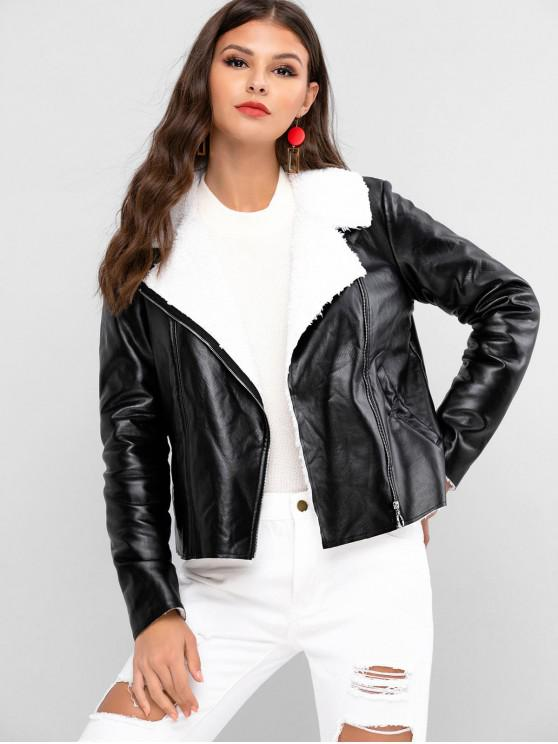 chic ZAFUL Faux Fur Lining Zipper PU Jacket - BLACK XL