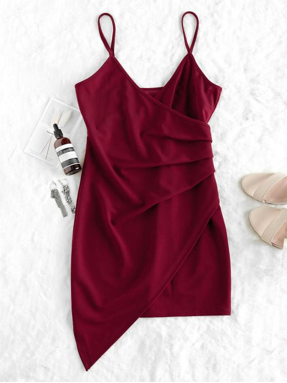 outfits ZAFUL Ruched Cami Party Dress - RED WINE M