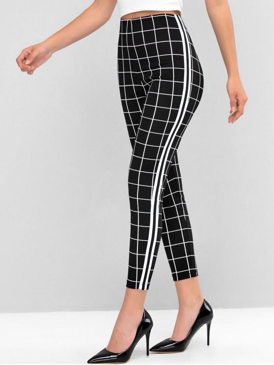 sale ZAFUL Side Striped Back Zipper Windowpane Leggings - BLACK M