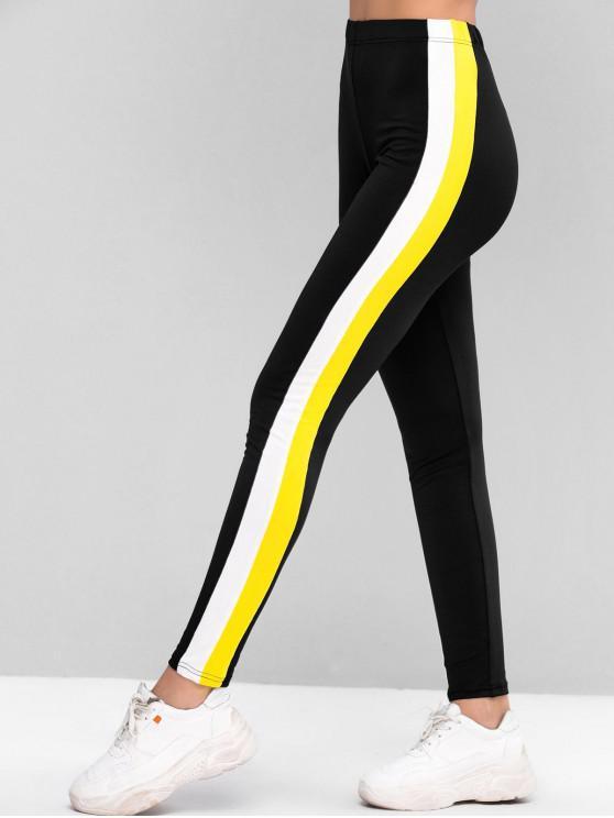 buy ZAFUL High Waisted Pull On Colorblock Leggings - BLACK M