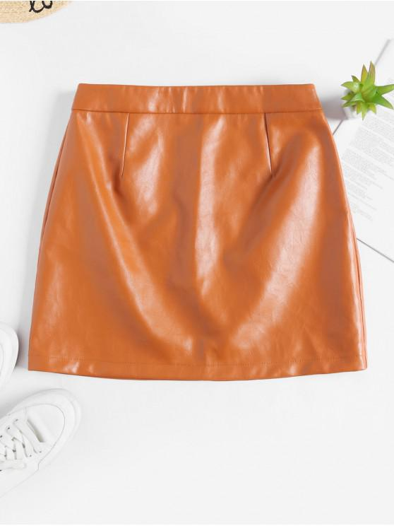 buy ZAFUL Solid Color Faux Leather Flare Skirt - TIGER ORANGE M