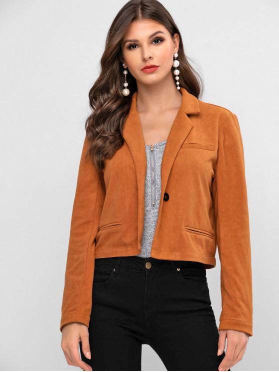 ZAFUL One Button Jacket lapela Faux Suede - Cor de Laranja de Tigre L