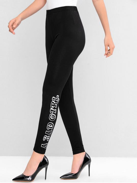 outfits ZAFUL Letter Print High Waist Leggings - BLACK M