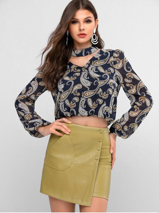 chic ZAFUL Long Sleeve Paisley Print Choker Blouse - DARK SLATE BLUE M