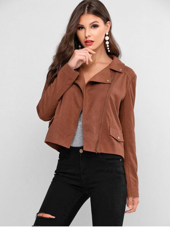 sale ZAFUL Faux Flap Pockets Zip Front Faux Suede Jacket - LIGHT BROWN L