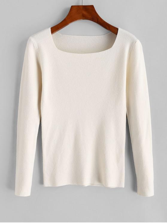 Piața Neck Slim pulover - Alb cald O marime