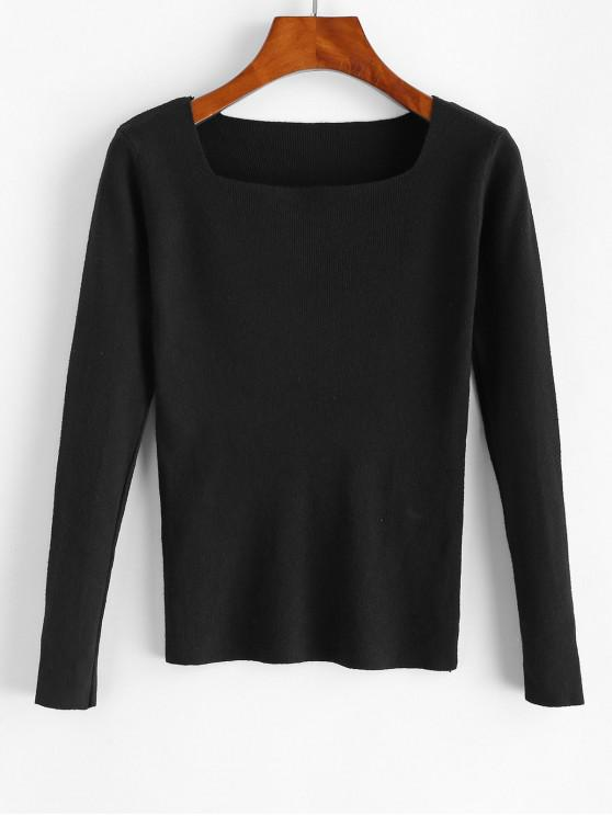方領修身針織毛衫 - 黑色 One Size