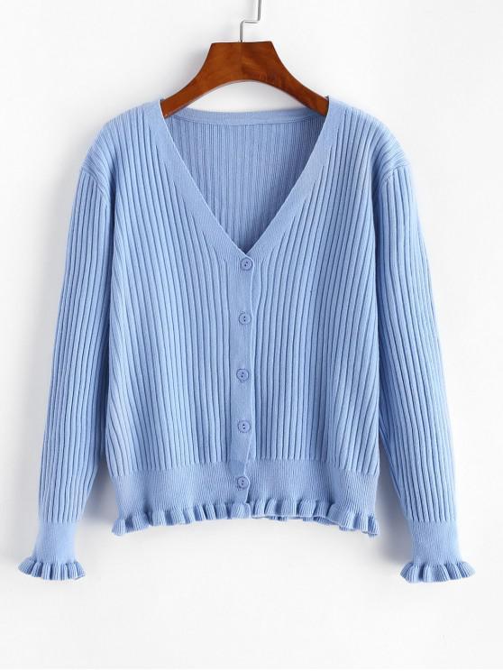 Gulerat Button Hem Ribbed Front Cardigan - Albastru gri O marime