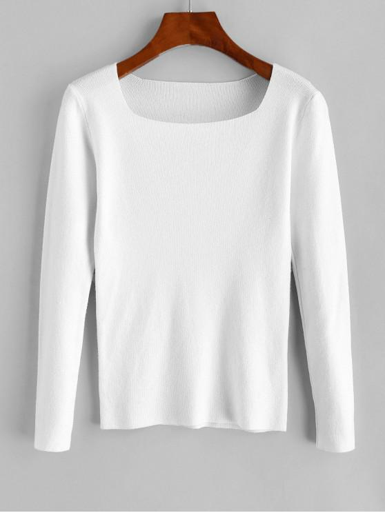 outfit Square Neck Slim Knitted Sweater - WHITE ONE SIZE