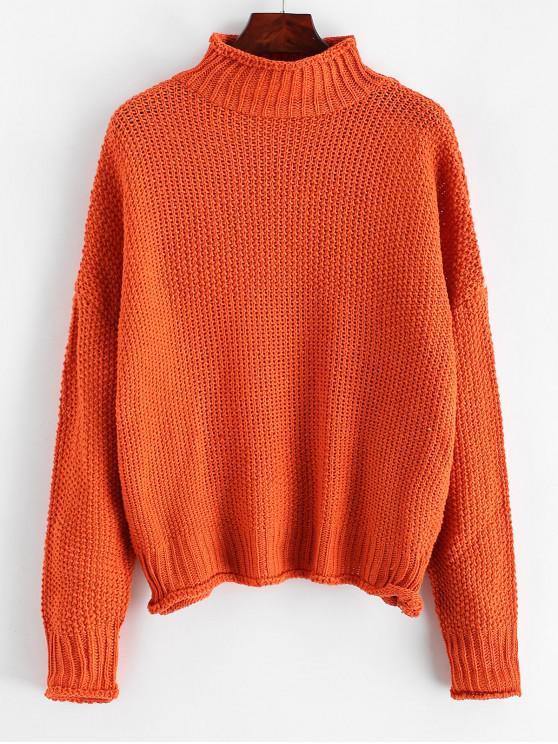 Stehkragen Tropfen Schulter Manschettenkante-Jumper Pullover - Orange L