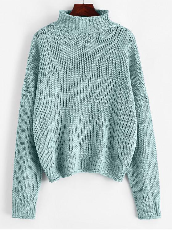 outfits Mock Neck Drop Shoulder Cuffed Edge Jumper Sweater - CYAN OPAQUE S
