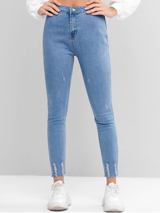 buy High Waisted Distressed Raw Hem Skinny Jeans - BLUE L