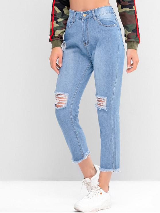 fancy Destroyed Frayed Hem Tapered Jeans - DENIM BLUE M