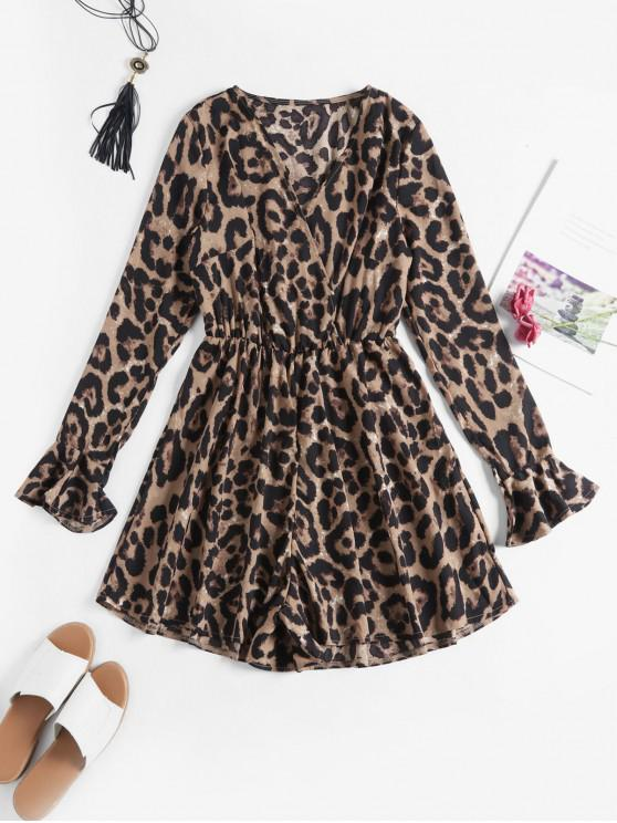 latest Poet Sleeves Leopard Print Wide Leg Romper - LEOPARD M