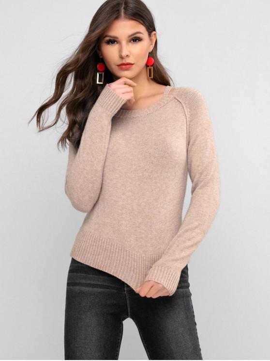 women's ZAFUL Crew Neck Cutout Sweater - TAN L