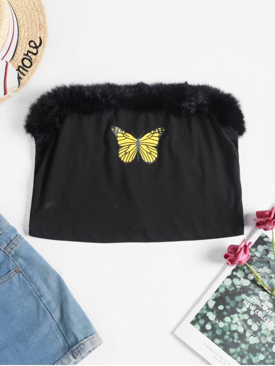 affordable Faux Fur Trim Butterfly Strapless Crop Top - BLACK M