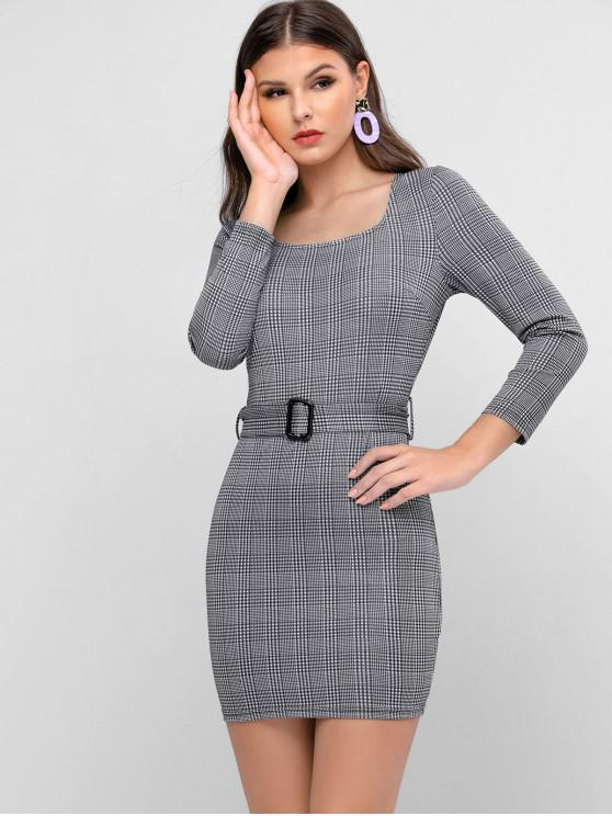 ZAFUL Houndstooth Belted Bodycon Mini Dress - Gri închis L