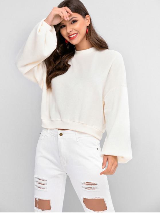 chic ZAFUL Lantern Sleeve Drop Shoulder Crew Neck Sweater - WARM WHITE M