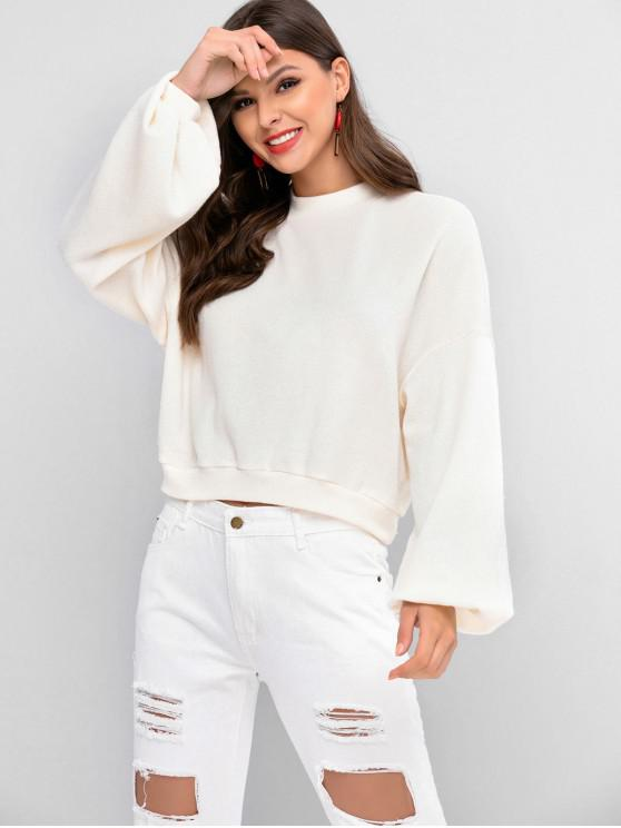 hot ZAFUL Lantern Sleeve Drop Shoulder Crew Neck Sweater - WARM WHITE S