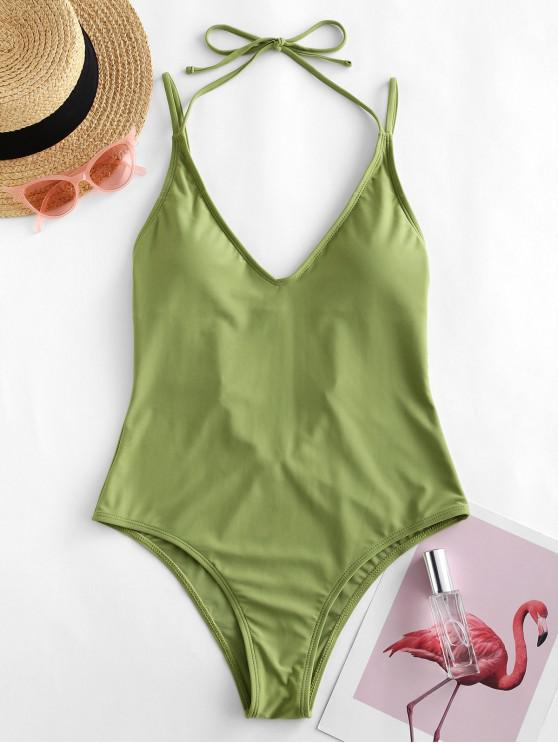 womens ZAFUL Halter High Cut Open Back One-piece Swimsuit - LIGHT GREEN S