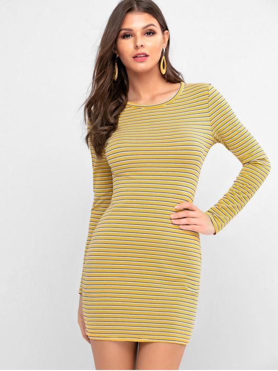 lady Striped Long Sleeve Fitted Tee Dress - YELLOW S