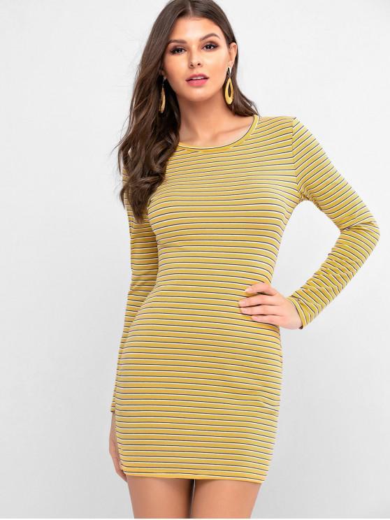 Полосатый принт С длинным рукавом Платье-футболка - Жёлтый S