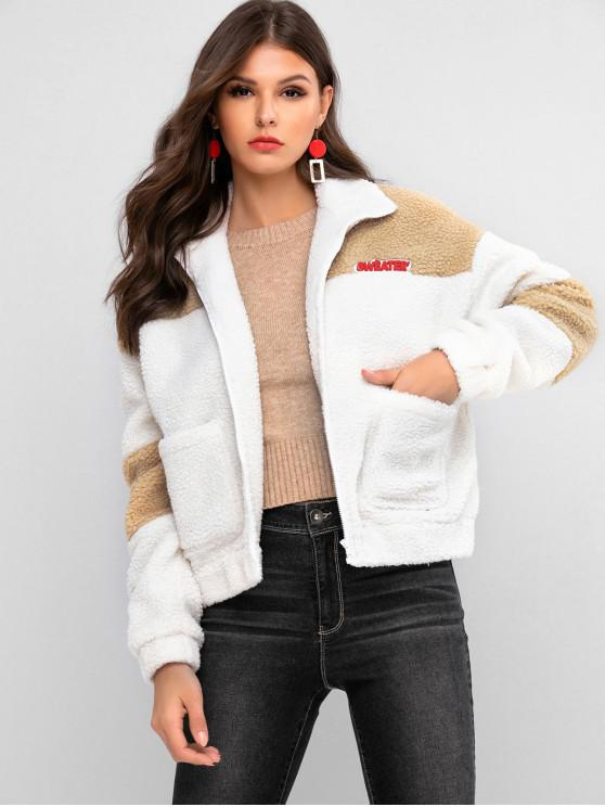 outfit ZAFUL Letter Patched Drop Shoulder Pocket Teddy Coat - MILK WHITE XL