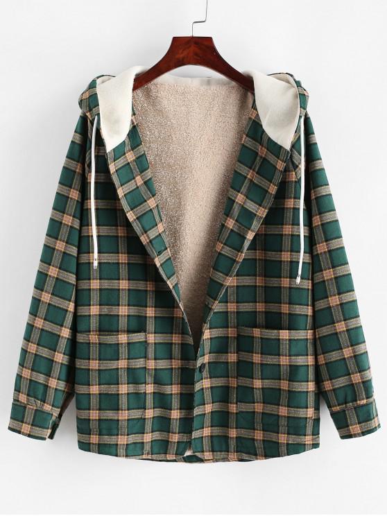 Botón a cuadros bolsillos chaqueta con capucha - Verde Oscuro XL