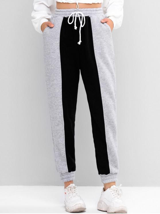 women Fleece Two Tone Drawstring Pocket Jogger Pants - GRAY ONE SIZE