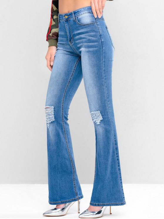 new Mid Rise Distressed Pockets Flare Jeans - DEEP SKY BLUE M