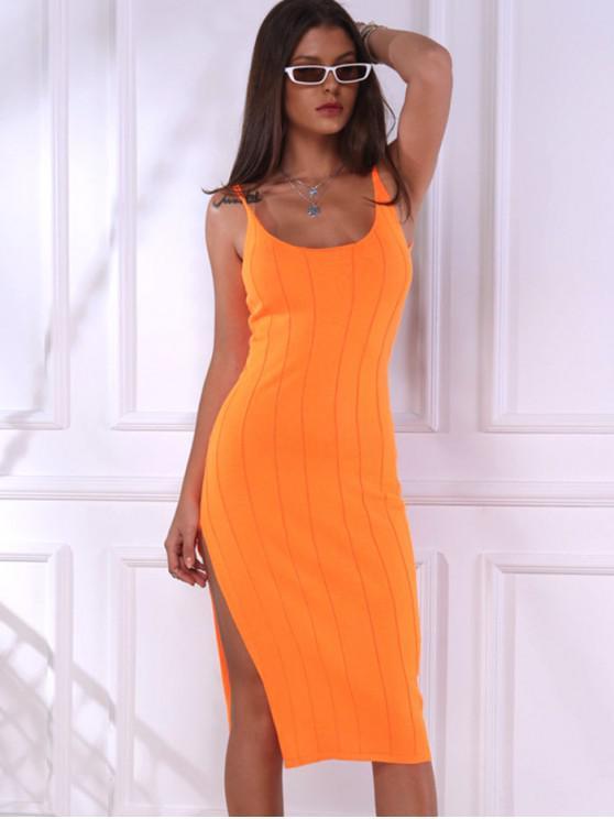 new Slit Neon Bodycon Cami Knit Dress - ORANGE S