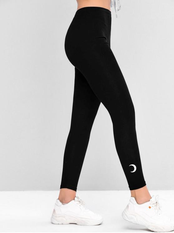 shop Mid Rise Crescent Moon Embroidered Leggings - BLACK ONE SIZE