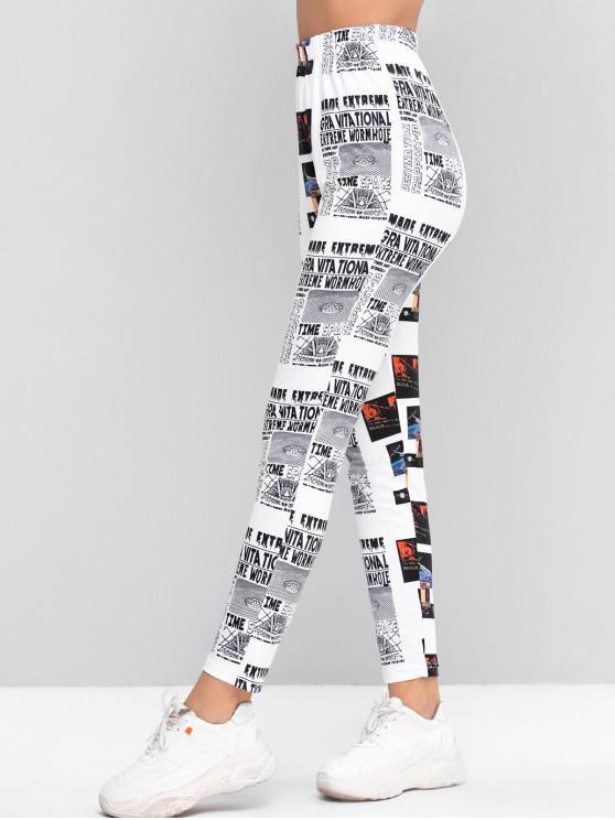 fancy ZAFUL Newspaper Print High Waisted Skinny Leggings - MULTI L