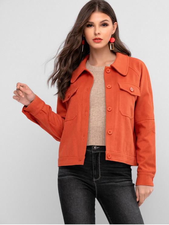 women's ZAFUL Raglan Sleeve Pocket Button Up Coat - ORANGE S