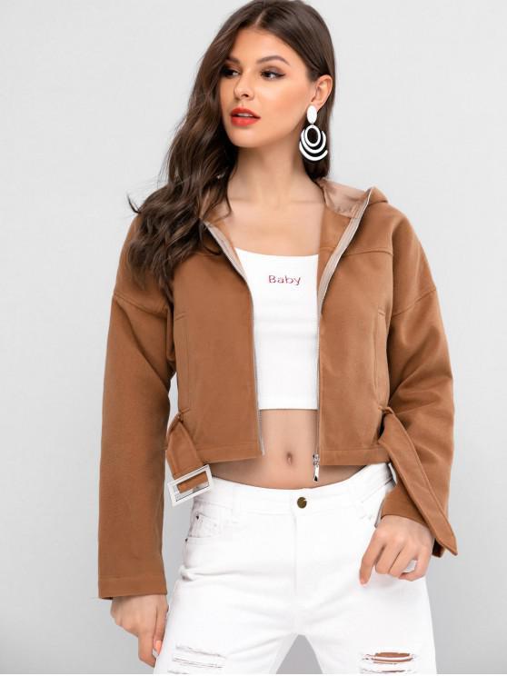 shop ZAFUL Drop Shoulder Hooded Zip Up Jacket - CAMEL BROWN S